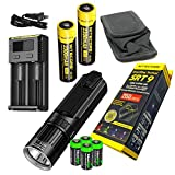 Rechargeable kit Nitecore SRT9 2150 Lumen CREE LED Built in White, Red, Green, Blue UV, Lights, Flashlight/searchlight with 4 X EdisonBright CR123A Batteries
