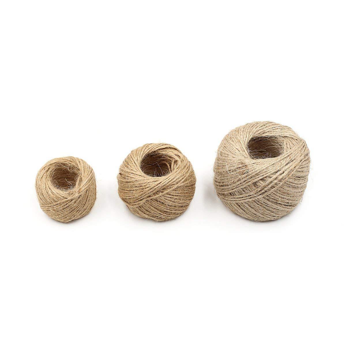 KKUR Cordon de Ficelle de Jute Naturelle de 25 m Corde de Chanvre Ficelle 2 mm demballage Cadeau en Toile de Jute Corde 10 Rouleaux Gris