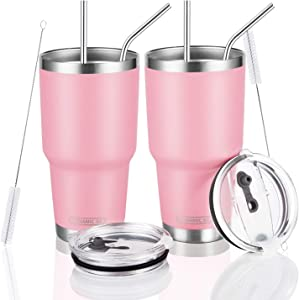 DYNAMIC SE 30oz 2 Pack Pink Tumbler Double Wall Stainless Steel Vacuum Insulated Tumblers with Splash-Proof Lid Metal Straw and Brush