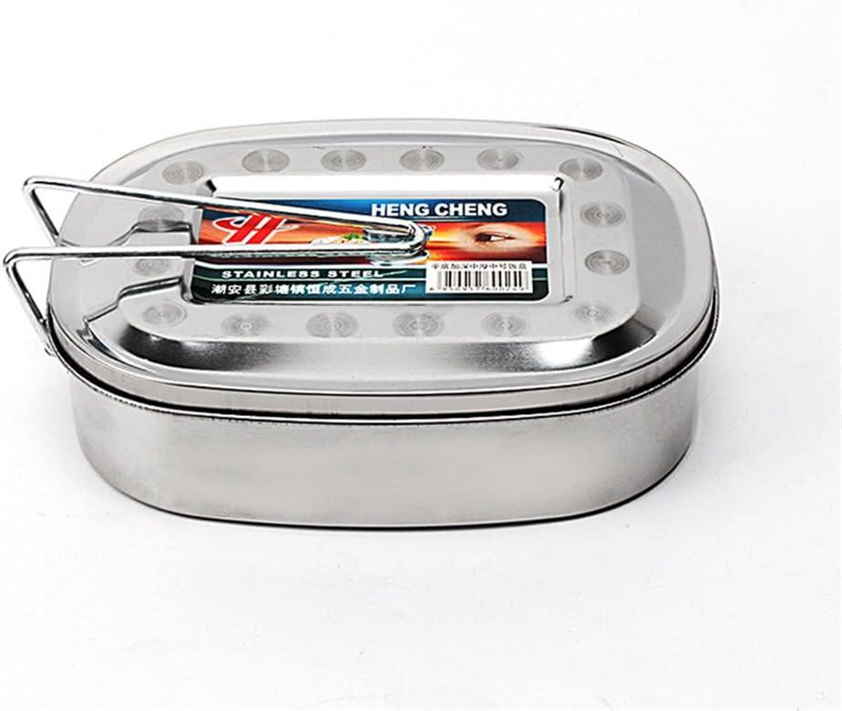 Milopon Fiambrera de acero inoxidable para el desayuno, de metal, para el almuerzo, para la escuela, picnic, camping, tamaño 15 x 11 x 5 cm