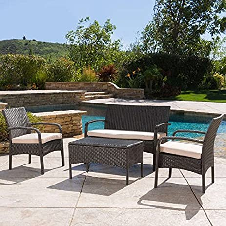 Patio Furniture Set, Water Resistant Christopher Knight Home Cordoba Outdoor  4 Piece Wicker Chat Part 46