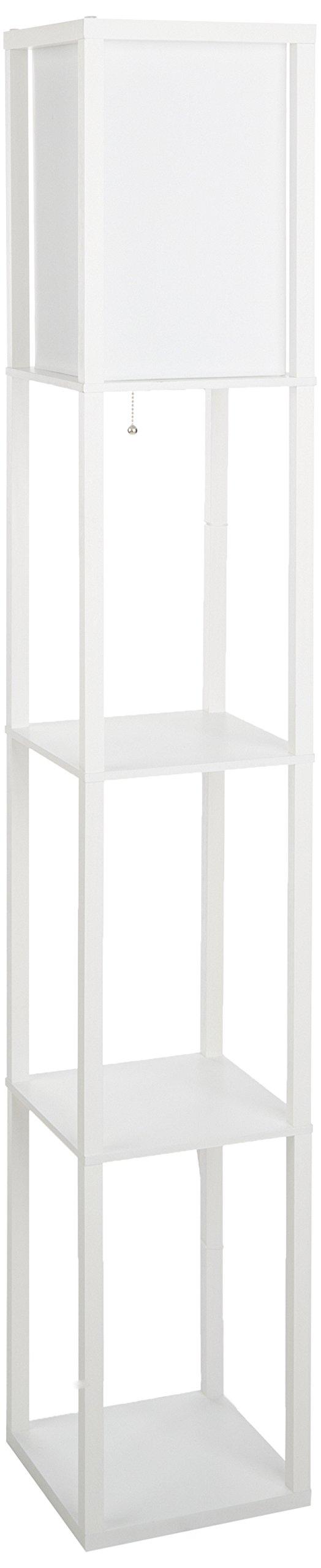 ALTLF1014WHT - Simple Designs White Floor Lamp Etagere Organizer Storage Shelf with Linen Shade