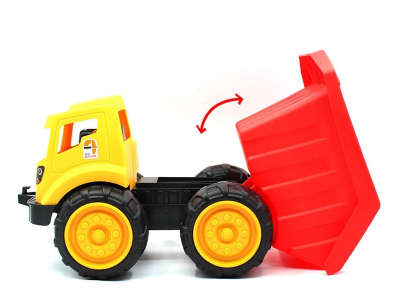 Mbros.KRJW Construction Vehicles Toys Dump Truck,Bulldozer,Excavator Size S M L Available Sturdy Kid Toy for Toddler Boys and Girls (Dump Truck Large)
