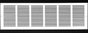"30""w X 6""h Steel Return Air Grilles - Sidewall and Ceiling - HVAC Duct Cover - White [Outer Dimensions: 31.75""w X 7.75""h]"