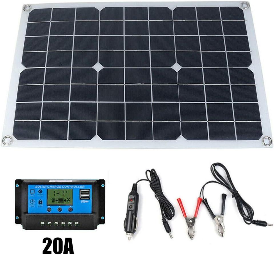 Bedler 50W 12V//5V Panel Solar de silicio monocristalino Cargador de bater/ía Solar USB de Doble Salida Panel Solar de silicio monocristalino