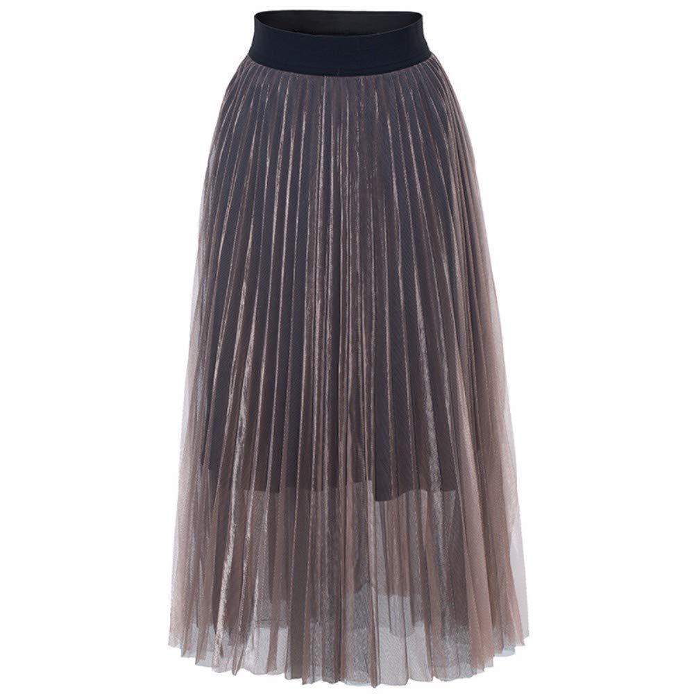 Pink ZPSPZ skirt Mesh Pleated Skirt, European and American HalfLength Skirt, high Waist AShaped Yarn Skirt and Large Pendulum Skirt,purple,S