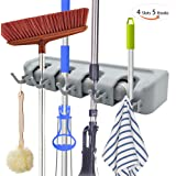 JIAXIN Mop and Broom Holder and Garden Tool Organizer, Multipurpose Wall Closet Mounted 4 Ball Slots with 5 hooks Storage Rack no Sliding Ideal Broom Hanger for Kitchen Garden Garage pantry