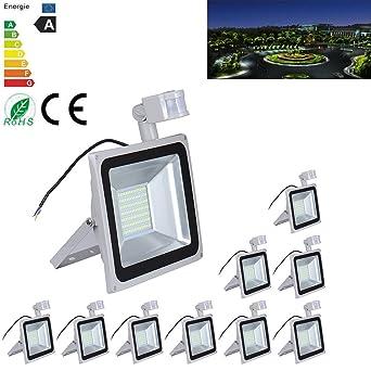10 x 100 W blanca fría LED SMD foco PIR Sensor de movimiento de überwachungsgartenbeleuchtung Bombilla