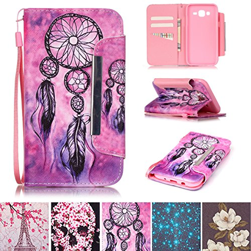 Galaxy J5 2015 Case, Kickstand Flip [Card Slots] Wallet Cover Double Layer Bumper Shell with Magnetic Closure Strap Protective Case for Samsung Galaxy J5 2015- Net