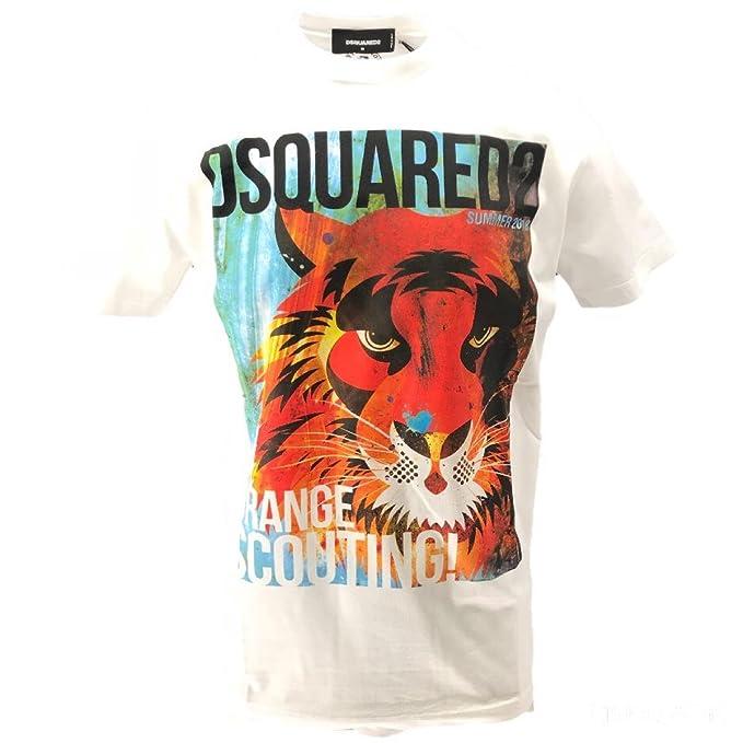 Dsquared2 Dsquared T-Shirt Uomo Manica Corta Stampa Cotone  Amazon.it   Abbigliamento 13f7d7cd5bb3