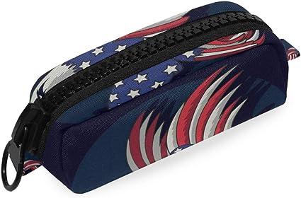 Oficina Estuche de lápices Bolsa Escuela Cremallera grande Bandera americana Calvo Bolso Bolígrafo: Amazon.es: Oficina y papelería