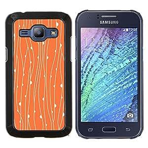 KLONGSHOP // Cubierta de piel con cierre a presión Shell trasero duro de goma Protección Caso - Rústico floral anaranjado del papel pintado - Samsung Galaxy J1 J100 //