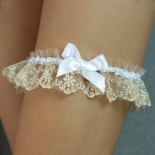 cheap for discount 0a622 8ebad Strumpfband white gold Hochzeit Braut Brautkleid ...