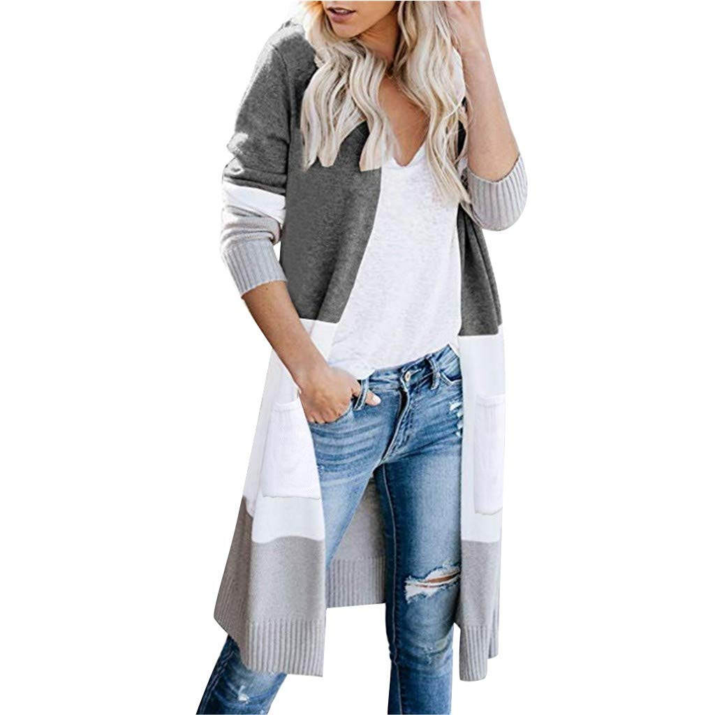 KANGMOON Women Long Sleeve Color Block Striped Pocket Casual Knitted Outerwear Cardigan Sweater Winter Warm Gray by KANGMOON
