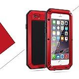 iPhone6/6s 4.7インチ用ケース 液晶保護強化ガラスフィルム付き 生活防水/防塵/耐衝撃 アウトドア スポーツ ケース アイフォン6/6s 対応, レッド