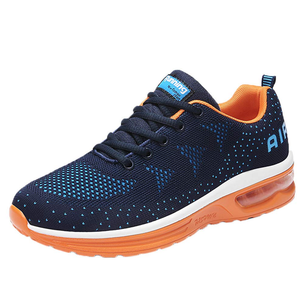 Men's Running Shoes Sportswear Elastic Fitness Athletic Classic Sneakers Refined Breathable Fitness Jogging Shoes (39, Dark Blue)