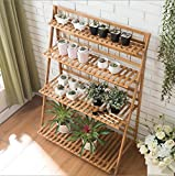 Floor solid wood multi - layer bamboo flowers folding shelf ( Design : Four layers )