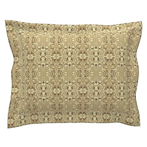 Roostery Hearts Euro Flanged Pillow Sham The Soul of A Victorian Machine by Edsel2084 Natural Cotton Sateen Made -