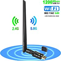 Wifi Dongle 1200mbps Long Range Usb Wifi adapter Dual Band 5g 867M / 2.4g300M 802.11ac for Desktop PC/Laptop/Tablet/Phone Supports WindowsXP/7/Vista/8/10 MacOS:10.6~10.13Linux: (kernel 2.6.18~4.5)