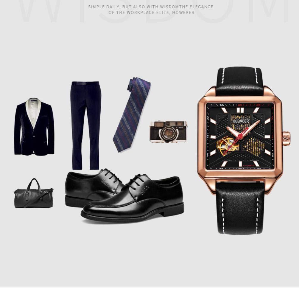 Herrklockor, mode hipster rostfritt stål med kalenderfunktion fyrkantig affärsklocka Svart