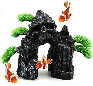 kathson Skull Mountain Aquarium Ornament Fish Tank Resin Decoration Rock Landscape Plant Decor Fish Hideout Cave for Shrimp, Bettas, Small Aquatic Pets