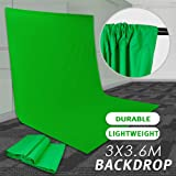 Volkwell Green Backdrop Background Screen, Muslin Cotton Backdrop for Photography Studio Video Photo Shoot. (10x12ft/3x3.6m, Green)