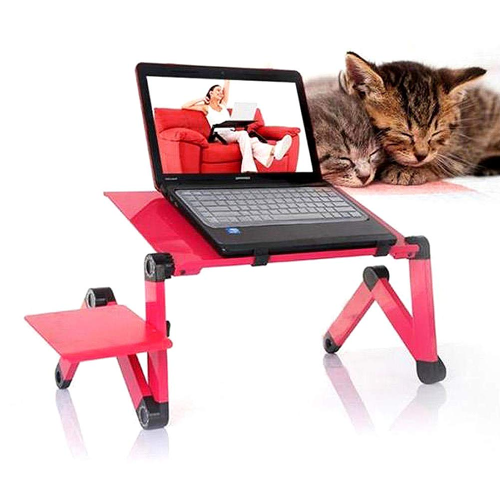 Weisfe78 Shipped from USA Red Laptop Stand Table with Silent Built-in Fans/&Mouse Pad Side Portable Adjustable Computer Desk Lap Notebook Tablets Desktop Tray Holder for Bed Sofa Couch