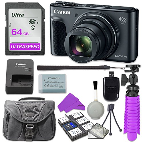 Canon PowerShot SX730 Digital Camera with 64GB SD Memory Card + Accessory Bundle by Canon