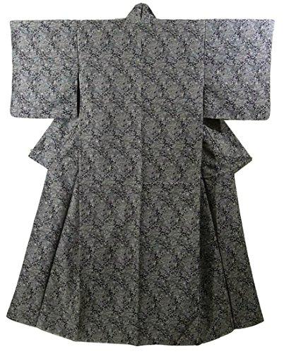 仕様包帯アッティカスリサイクル 着物 織りの小紋 竹垣や霞に松竹梅と四季花 ポリエステル 裄63cm 身丈158cm