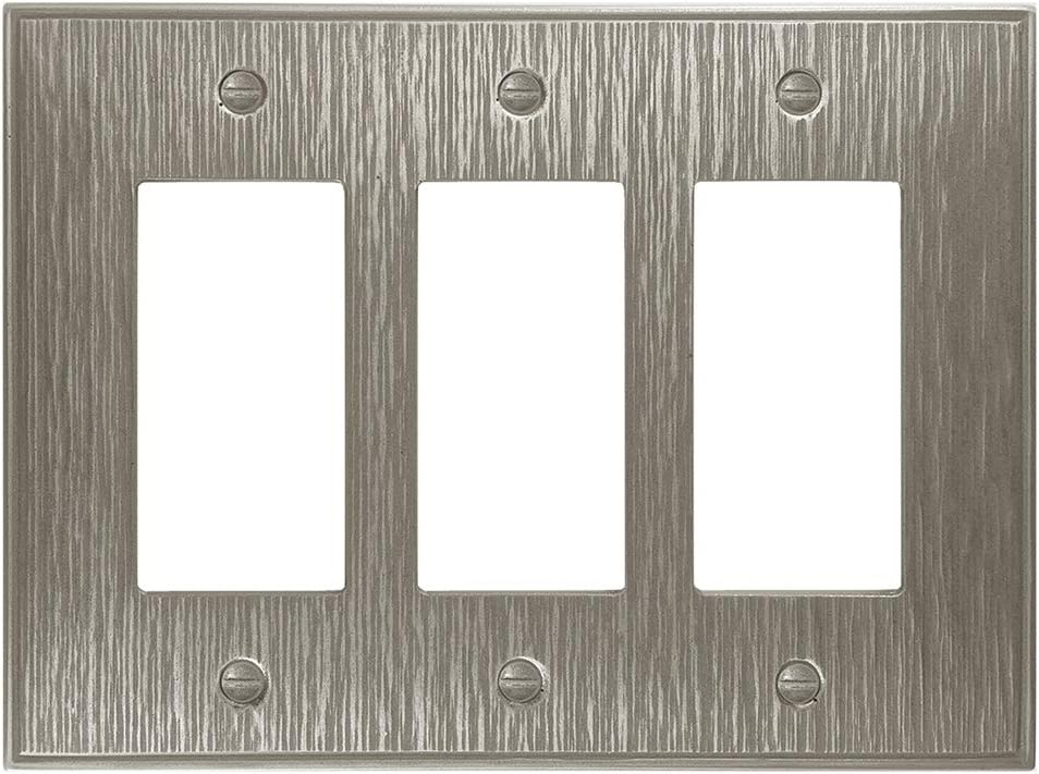 Triple Rocker - Brushed Nickel Light Switch Cover Twill Cast Metal Decorative Outlet Cover