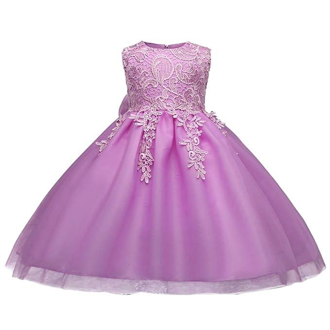 Niñas Vestidos de Princesa Encaje sin Mangas Tul Elegante para Bebé para Boda Bautizo Fiesta Ceremonia