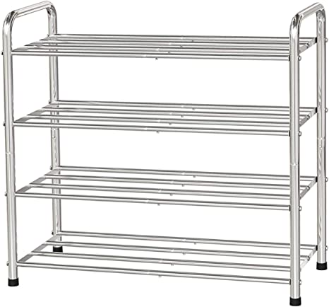 Fanhao 4 Tier Shoe Rack 100 Stainless Steel Shoe Storage Organizer Stackable 12 Pair Storage Shelf For Bedroom Closet Entryway Dorm Room 23 6 W X 10 24 D X25 6 H Silver Home Improvement