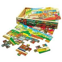 Taufgeschenke Direkt 4 Puzzles in wooden box, transportation