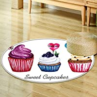 Small round rug Carpet set of watercolor cupcakes with lollipop hearts can be used for birthday valent door mat indoors Bathroom Mats  Non Slip -Round 24