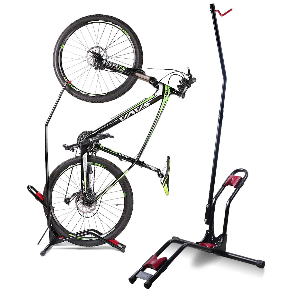 Vertical Bike Stand for Floor, Indoor Bike Mount Rack - Fits Nearly All Bikes & Frees 4 Feet of Floor Space
