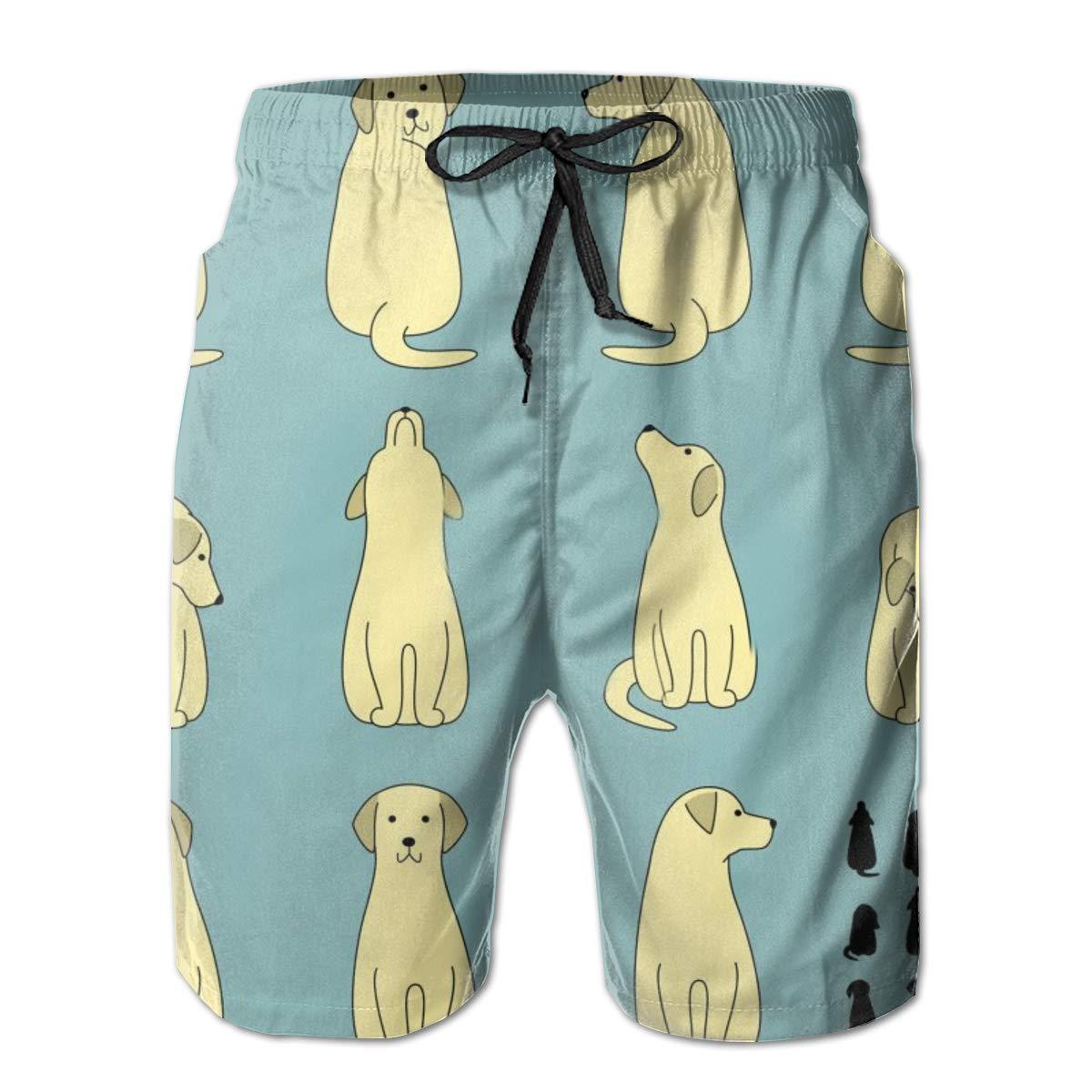Pig Seamless Pattern Print Swim Trunks Summer Beach Shorts Pockets Boardshorts for Men
