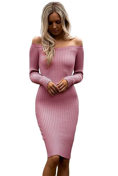 Nuevo color rosa de la mujer acanalado apagado hombro Midi vestido ...