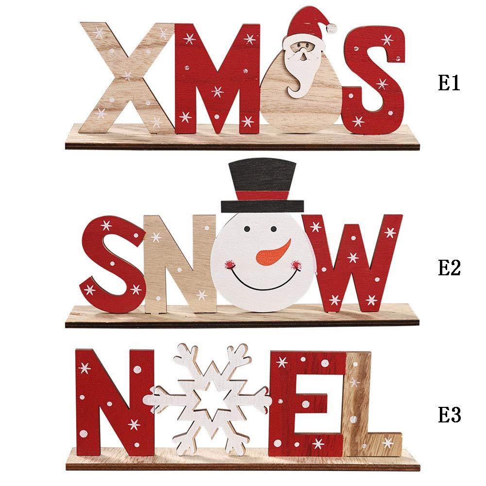 Handfly Decoraciones de Navidad Letras de Madera Adornos de Escritorio Decoraci/ón de Mesa de Navidad Cartel