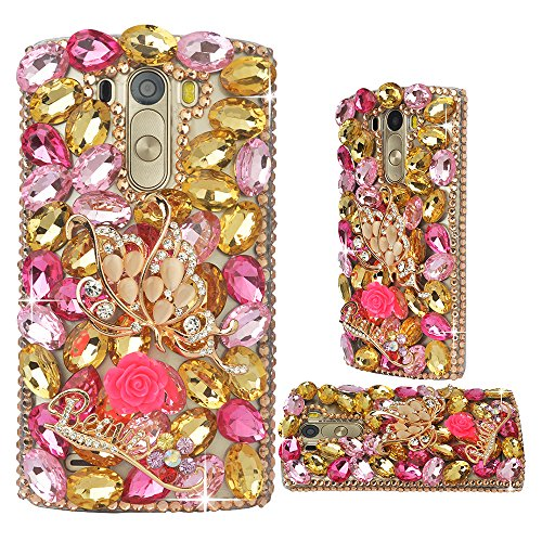 LG Stylo 2,LG Stylo 2 Plus/LG Stylus 2 Plus/K530/ MS550 Case,Yaheeda [Luxurious Series] 3D Handmade Shiny Crystal Bling Case with Peals Metal Accessor…