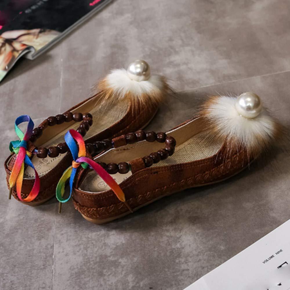 ZHRUI Schuhe Damen Stiefel Mode Mode Mode Einzelne Schuhe Frauen Schuhe Mode Bestickt Pearl Knöchel Flache Freizeitschuhe Erbsenschuhe Stiefel (Farbe   Braun, Größe   42 EU) 0aff90