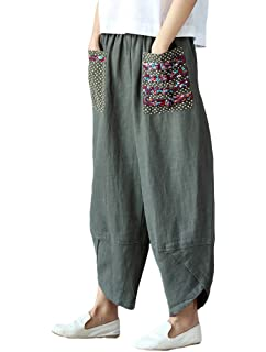 b1084c695148 Minibee Women's Baggy Linen Wide Leg Trousers Casual Patchwork Elastic  Waist Harem Pants