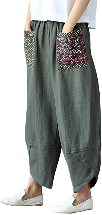 Cottagecore Clothing, Soft Aesthetic Minibee Womens Baggy Linen Wide Leg Trousers Casual Patchwork Elastic Waist Harem Pants $29.97 AT vintagedancer.com