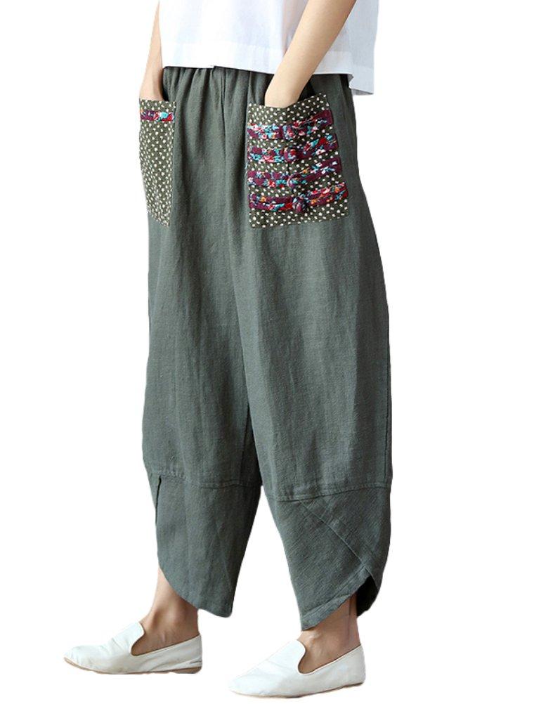 Minibee Women's Baggy Linen Wide Leg Trousers Casual Patchwark Elastic Waist Harem Pants Army Green M
