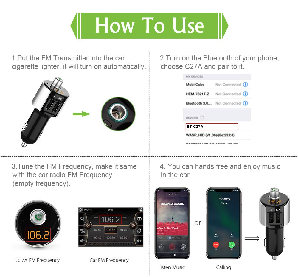 Fast Car Charger Bluetooth 5.0 Car Adapter Quick Charge Car Kit TwinboyTao LED Display Hands-Free Calls Dual USB Port FM Transmitter for iPhone Android