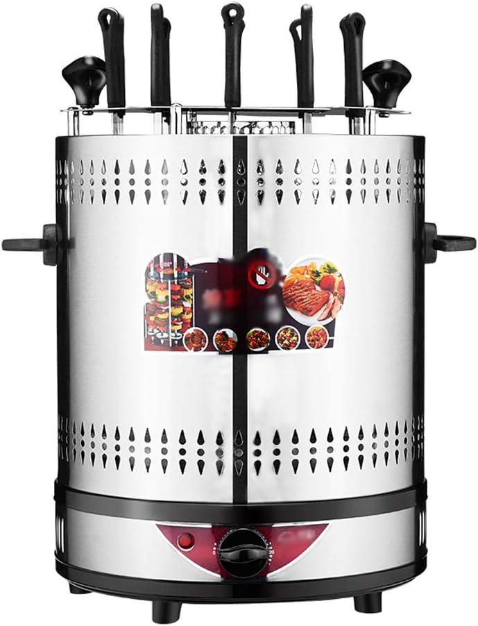 NO BRAND Asador Eléctrico Giratorio Vertical Parrilla 1350W Plata BBQ Cocina Pescado Cocinar Verduras Barbacoa Máquina de Utensilios Brocheta de Barbacoa sin Humo (Tiempo 0-25 Minutos)
