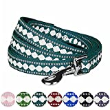 Blueberry Pet 7 Colors 3M Reflective Jacquard Dog Leash with Soft & Comfortable Handle, 5 ft x 3/4, Teal Blue, Medium, Leashes for Dogs