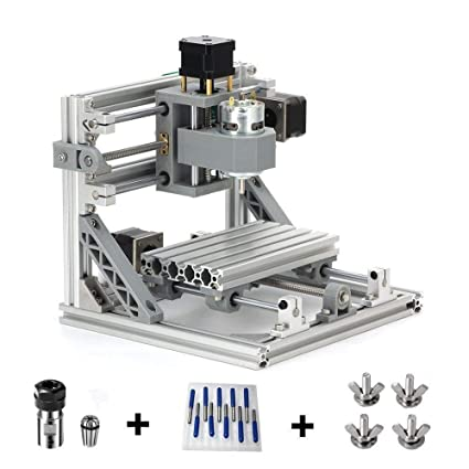 TopDirect CNC Router Engraving Machine with 5mm ER11 and Extension Rod, 160  * 100 * 45mm, PCB PVC Wood Metal Milling Machine + 10PCS CNC Router Bits +