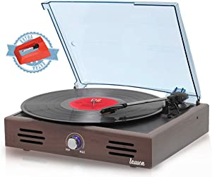 Record Player, Turntable USB for Vinyl Records 3 Speed, Belt Driven, Vintage Record Player with Stereo Speakers, Lp Phonograph, RCA Output, Natural Wood, JTF536 (Wenge)