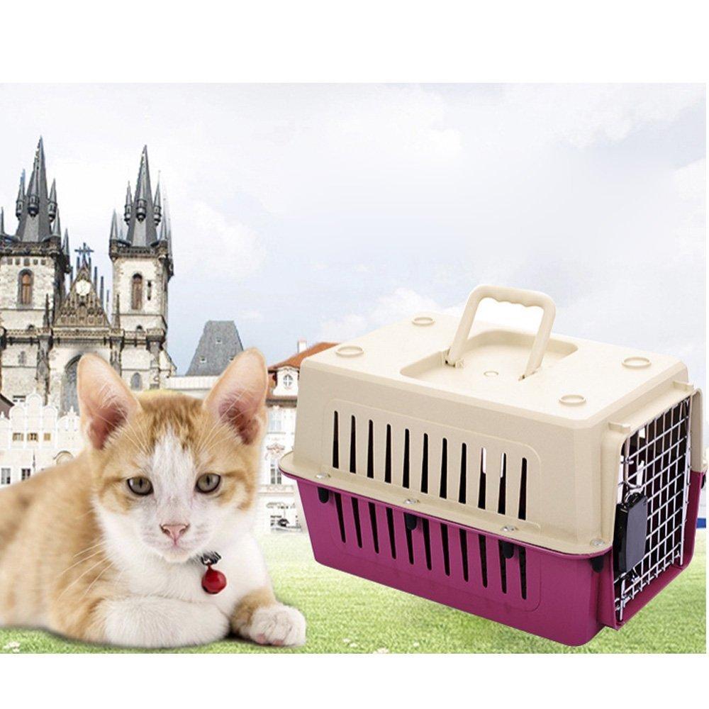 Livebest Pet carrier Load Pet Kennel-Hard Sided Cat&dog Box (M, Red)