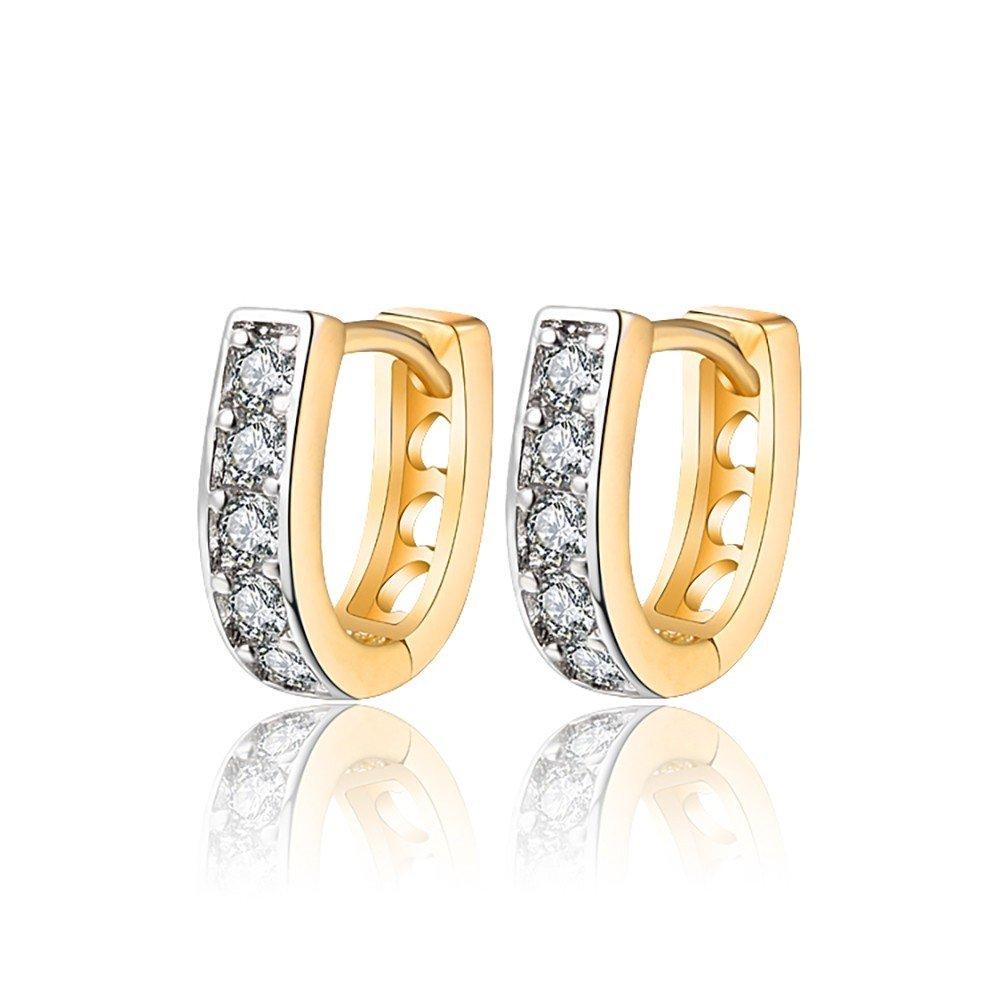 BOBIJOO Jewelry Paire de Boucles dOreilles Enfant B/éb/é Fille Dor/é Or Fin Anneau Cr/éoles Bapt/ême